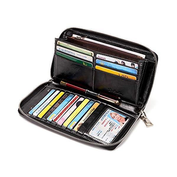 BOSTANTEN Leather Wallets for Women RFID Blocking Zip Around Credit Card Holder Phone Clutch 1
