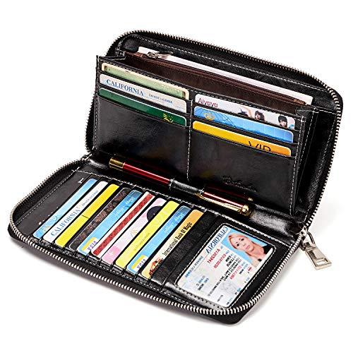 BOSTANTEN Portafogli in pelle per donna Porta carte di credito con chiusura RFID con cerniera
