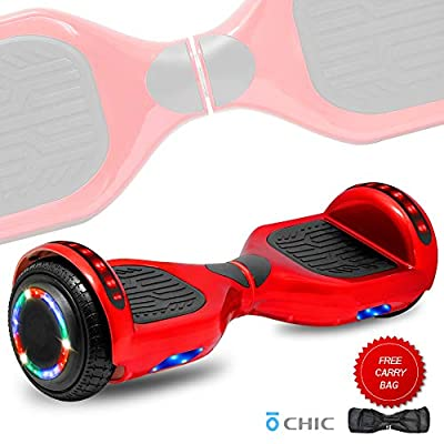 DOC Electric Smart Self-Balancing Hoverboard with Built in Speaker LED Lights Wheels Certified Hoverboard for Kids and Adults (STD-Red)