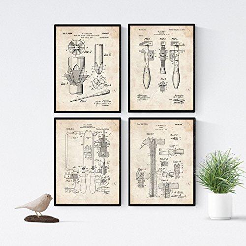 Nacnic Vintage - Pack van 4 bladen met Patent Tools. Set posters Oude uitvindingen en octrooien. Kies de kleur die u wilt. Gedrukt op 250 gram
