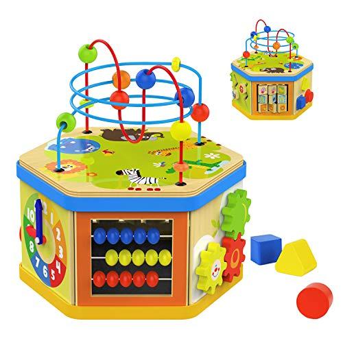 TOP BRIGHT Jouet Cube Bébé en Bois pour Enfant,7 en 1 Cube D'activité Educatif Labyrinthe Perle Trieur de Forme pour 2 Ans,Cadeau pour Garçons et Filles de 1 an