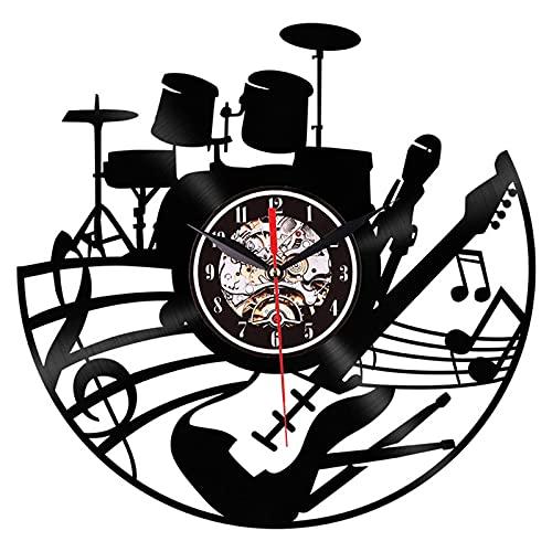 YZJYB Música Reloj De Pared De Disco De Vinilo Fácil De Montar Música Teclado Y Batería Banda Rock Pop Clock Decoración para El Hogar Arte De La Pared
