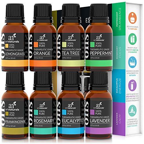 artnaturals Therapeutic-Grade Aromatherapy Essential Oils Gift Set – (8 x 10ml) - 100% Pure of The Highest Quality Oil – Peppermint, Tea Tree, Lavender, Eucalyptus