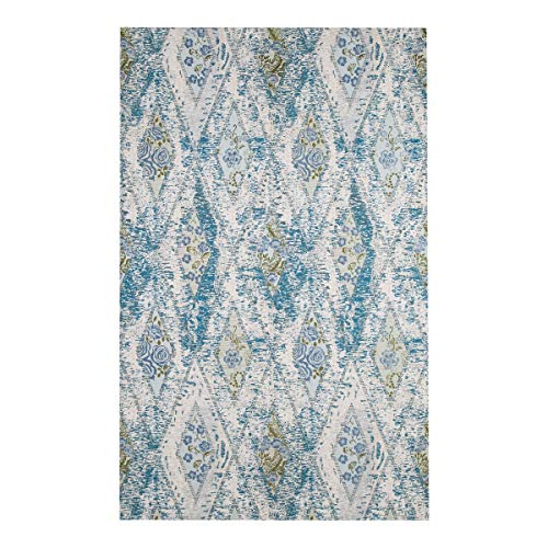 AMIDA 3x5 Entryway Rug Machine Washable Non Slip - Geometric Floral Vintage Inspired Design - Blue and Beige - Flat Weave - Soft and Thin - Dog Friendly Easy Care - 5x3 Kitchen Rug - Indoor Floor