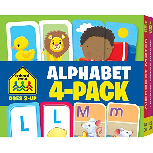 School Zone - Alphabet Flash Cards 4 Pack - Ages 3 and Up, Preschool to Kindergarten, Lowercase and Uppercase Letters, Letter-Picture Recognition, Beginning Sounds, and More (Flash Card 4-pk)