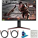 LG 32GN550-B 32 inch Ultragear FHD 165Hz HDR10 Monitor with G-SYNC Bundle with 2X 6FT Universal 4K HDMI 2.0 Cable,...