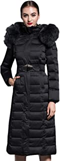 Women's Fur Hooded Down Coat Thickened Puffer Maxi Down Parka with Belt