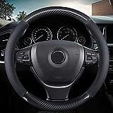 KAFEEK Classic Carbon Fiber Steering Wheel Cover, Universal 15 inch, Breathable Microfiber Leather, Black