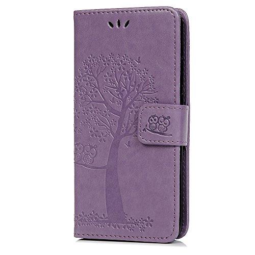 Reevermap Nokia 1.3 Hülle, Lederhülle für Nokia 1.3 Handyhülle Wallet Flip Leder Hülle Tasche Brieftasche Etui Standfunktion Schutzhülle Eulenbaum im Bookstyle, Helles Lila