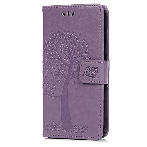 Nokia 4.2 Hülle 2019, Lederhülle Handy Wallet Flip Leder Hülle Tasche Brieftasche Etui Standfunktion Schutzhülle für Nokia 4.2 2019 Eulenbaum im Bookstyle, Helles Lila