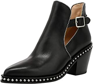 Details about  /Womens Ladies Leather Studded Goth Back Zip Ankle Boots Chelsea Shoes Rivet Stud