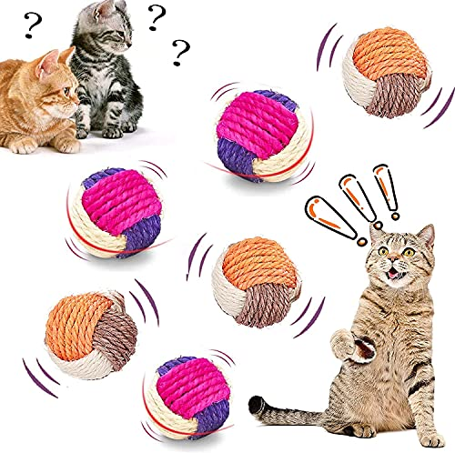 Katze Sisal Ball, 6 Stck Sisal Seilball,Haustier Katzen Spielzeug Bälle,Umweltfreundliche Kätzchen Bälle,Kätzchen Spielzeug Kugeln,Kätzchen Spielzeug Interaktive,Katzenspielzeugball