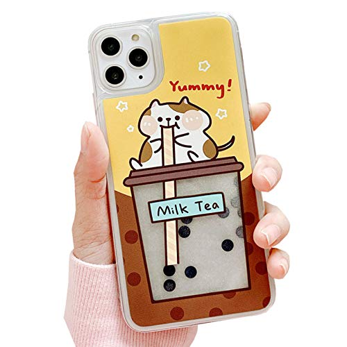 SGVAHY Quicksand Case for iPhone 11, Creative Fun Liquid Pearl Milk Tea Design Cute Bear PC Hard Back Cover Soft Silicone Bumper Protective Case (Cat, iPhone 11)
