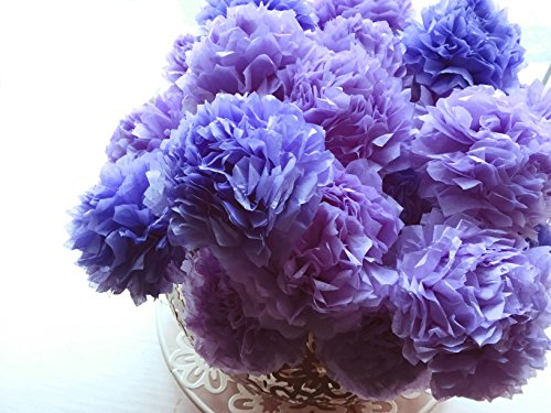 Iris Blue Purple Tissue Paper Pom Pom Flower Bouquet Table Décor Floral Centrepiece Paper Handmade Home Wedding Party Decorations InsideMyNest (Set of 12)