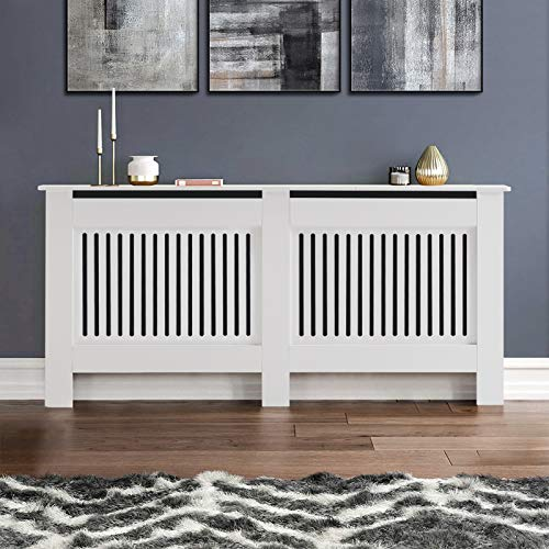 TUKAILAi Modern White Radiator Cover Cabinet MDF Cabinet Home Furniture Radiator Protection Vertical Slat Cabinet Radiator Shelve for Living Room/Bedroom/Kitchen White XL 172 * 19 * 82cm