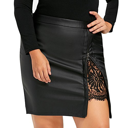Writtian Damen Lederrock Wetlook PU Leder Bleistiftrock Figurbetont Bodycon Mini Rock Hohe Taille Leather Skirt Hüftrock Schlitz einfarbig Rock Spitzen Patchwork