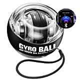 Wrist Trainer Ball Auto-Start Wrist Strengthener Gyroscopic Forearm Exerciser Gyro Ball for Strengthen Arms, Fingers, Wrist Bones and Muscles (Black with Bluetooth)