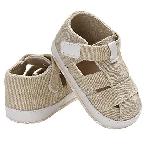 Yililay Kinderen Jongens sandalen Canvas Non-Slip Soft Sole gesloten teen eerste wandeldag Zomer Schoenen voor 3-18m peuters Apricot