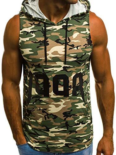 Shawnlen Männer mit Kapuze Weste einfarbig ärmellose Sweatshirts Bodybuilding Tank Top Fitness Fitness Übung Laufen Hoodies M-3XL (M, Grüne Tarnung)