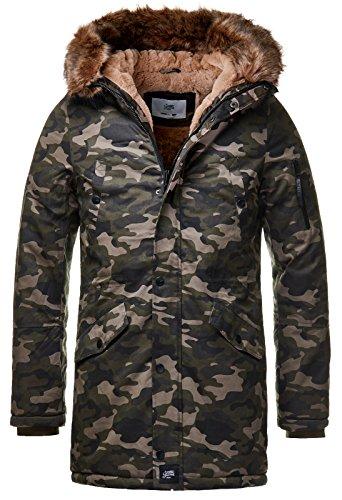 Sixth June Herren Parka Winter Jacke Fell Kapuze Lang Zipper schwarz grün M2000 M3310, Größe:S, Farbe:Camouflage