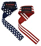Harbinger Padded Cotton Lifting Straps with NeoTek Cushioned Wrist (Pair), Flag