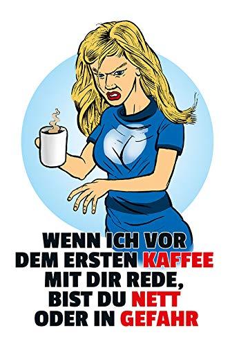 FS spreuk Wenn ich vor dem eerste koffie metalen bord bordje gewelfd Metal Sign 20 x 30 cm