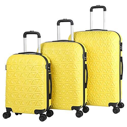Melko 3tlg. Hartschalen Kofferset Gelb Reisekoffer Reisetasche Trolley Handgepäck