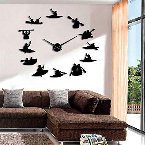 CDNY Kanufahrer DIY große Wanduhr Kajak treibende dekorative Spiegel große Uhr Riese rahmenlose Uhr Wandaufkleber Wanddekoration 37 Zoll kann angepasst Werden