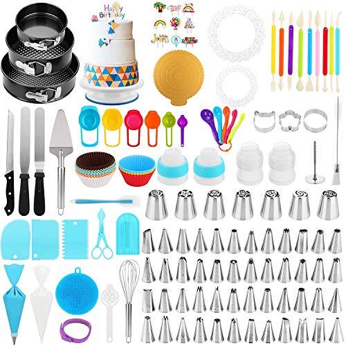 Cake Decorating Supplies Kit, Duerer 420 PCS Baking Tools Set 3 Baking Springform Cake Pans, Cake Rotating Turntable, 48 Piping Icing Tips, 7 Russian Nozzles, Cake Decorating Tools Set for Beginners