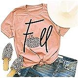 Womens Fall Mandala Pumpkin T-Shirt Funny Halloween Autumn Short Sleeve Graphic Tees Tops (Z-Pink, S)