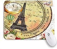 マウスパッド 個性的 おしゃれ 柔軟 かわいい ゴム製裏面 ゲーミングマウスパッド PC ノートパソコン オフィス用 デスクマット 滑り止め 耐久性が良い おもしろいパターン (花パリ時計ファッション)