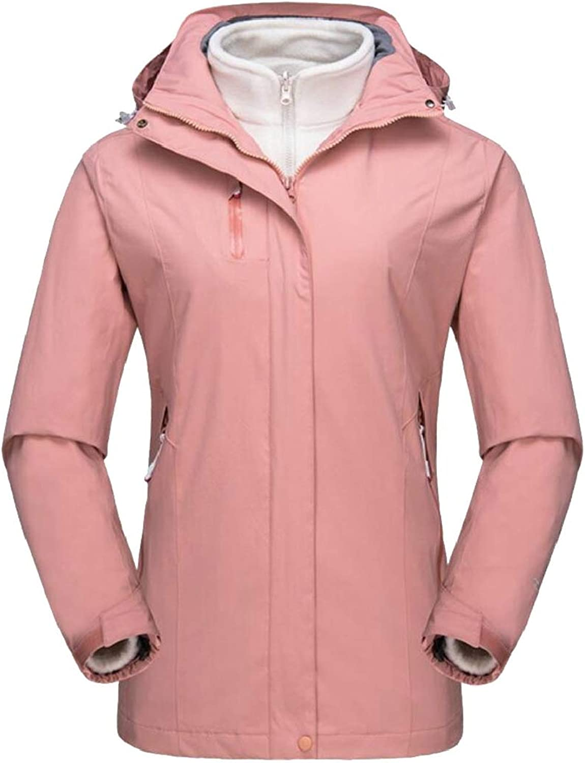 XQS Womens Outerwear Thicken Hoodie Plus Size Windproof 3 in 1 Jacket