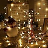 Topwor 10M 80LED Cadena Luces, Cadena de Luces Blanco Cálido Guirnalda Luces, Alimentado por batería, Decorativas Guirnaldas Luminosas para Jardines,Casas, Boda,Fiesta de Navidad