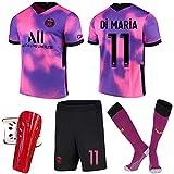 ACJIA Kit de Distancia # 11 PSP Away 2021 22 4th Jersey Unisex Pink/Purple Fútbol de fútbol Camiseta para Fan Regalo Capacitación de Hombre Jersey Souvenir con Calcetines + Pie Guards