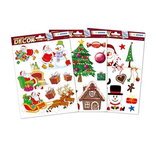 HERMA 15548 Weihnachten Fensterbilder Kinder Set, selbstklebende Fensterdeko Aufkleber, 25 große Weihnachtssticker für Dekoration