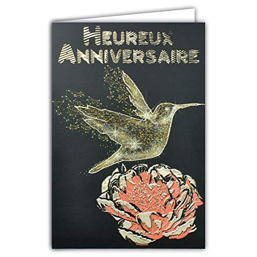 Wenskaart voor verjaardag, vogel Kolibri, bloem, pioenrose, roze, zwart en goudkleurig, voor feestjes, glanzend, chique, modieus