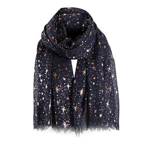 Yuson Girl Bufanda Mujer Elegante Chal Negro Estola Pelo de Gasa Transparente Pañuelo Con patrones de estrellas y luna bronceado y estampado plateado 70 * 180cm