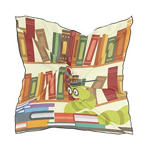 DEZIRO Hoofd Wrap Bookworm Boekenplank Vrouwen Mode Sjaal Lichtgewicht Zacht Idee Gift 23.6x23.6 in