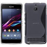 PhoneNatic Case kompatibel mit Sony Xperia E1 - grau Silikon Hülle S-Style + 2 Schutzfolien