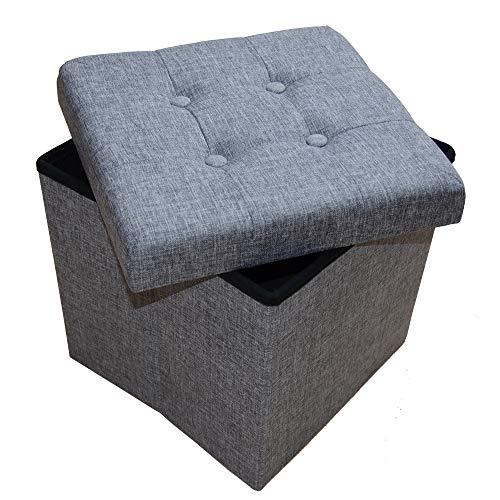 Style home Sitzbank Sitzhocker Aufbewahrungsbox mit Stauraum Faltbare Sitzwürfel belastbar bis 300 kg Leinen 38 x 38 x 38 cm (Grau)