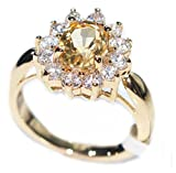 Ah! Jewellery Genuine Precious 1.45ct CITRINE Solitaire Setting Ring. Gold Filled UK Guarantee 3µ. Stamped GL. Brilliant Little Rounds Surrounding. Keep-safe Jewellery to Treasure.