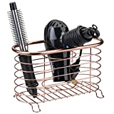 styling tools organizer - mDesign Metal Wire Hair Care & Styling Tool Organizer Holder Basket - Bathroom Vanity Countertop Storage Container for Hair Dryer, Flat Irons, Curling Wands, Hair Straighteners - Rose Gold