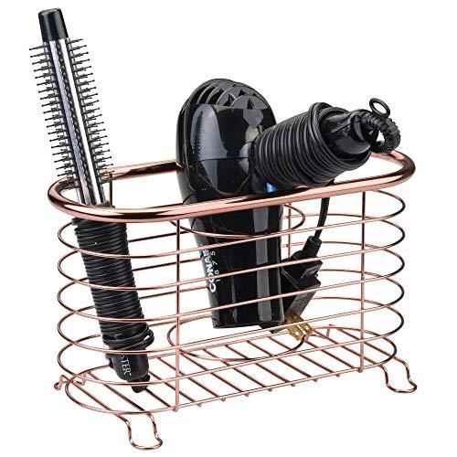mDesign porte sèche-cheveux sans perçage – panier pour sèche-cheveux polyvalent en métal grillagé – module de rangement multifonction pour fer à boucler et lisseur – couleur or rouge