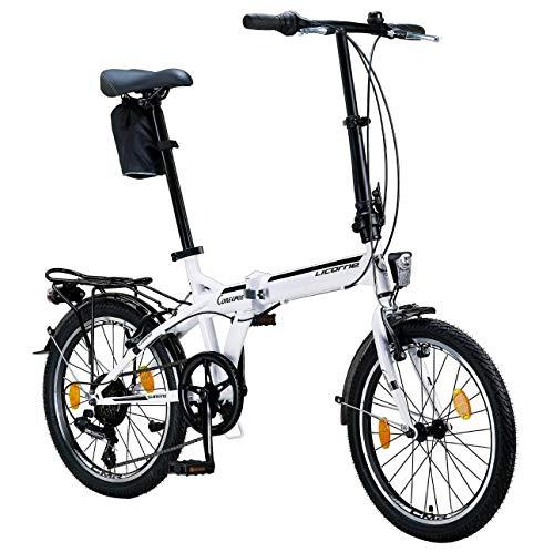 Licorne Bike Conseres 20 Zoll-Faltrad-Klapprad (Weiß/Schwarz) Faltfahrrad-Herren-Damen-klappbares-Fahrrad-6 Gang Shimano Kettenschaltung-Folding City-Bike, Abdeckung,StVZO,Vorder-Hinter-Lampe