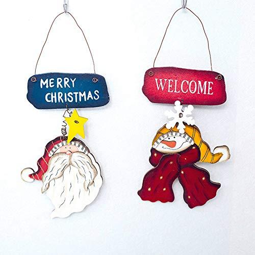 ZXXFR Ciondoli E Pendenti Natalizi,2Pz in Legno Ornamenti Natale Stella di Legno Pupazzo di Neve E Ciondoli Lettere Albero di Natale Ornamenti Caduta Decor Natale Decorazione per La Casa