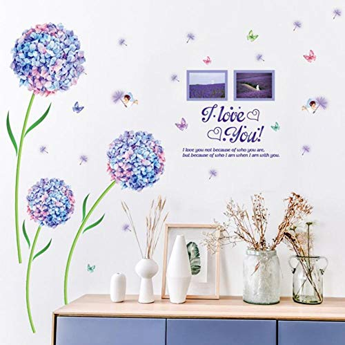 Blue Dream Flower Ball Romántico Salón Dormitorio TV Fondo Etiqueta de la pared 60 * 90 CM