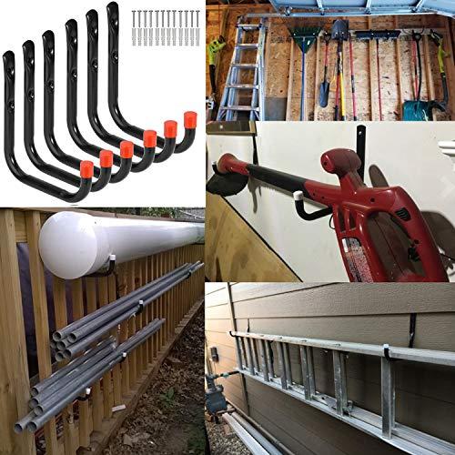 Heavy Duty Garage Storage Utility Hooks Wall Mounted Tools Hangers Organizer (6 Pcs Black 7.1