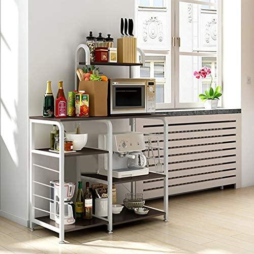 Estante de cocina de 3 niveles y 4 niveles con 5 ganchos utilitarios para horno microondas y horno de almacenamiento, estante para estación de trabajo