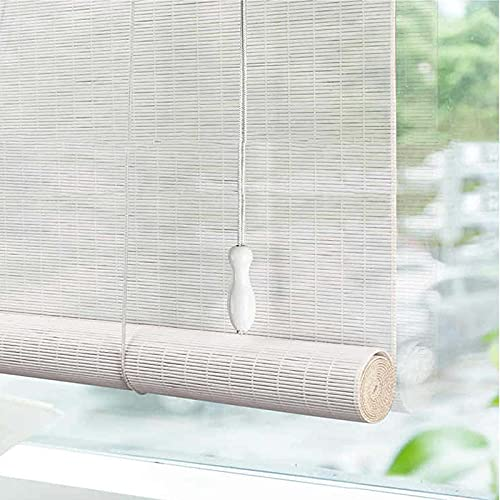 Vita Persienner I Bambu, Naturliga Persienner I Bambu Romerskt Trä Inomhus, Rullande Persienner, Retro Bambu Persienner, Lyftfönster, för Dörrar/Fönster/Trädgård,handvävda Persienner för Fönster