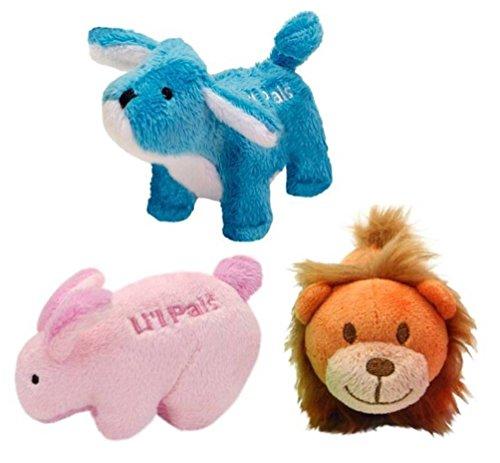 LilPals Juguete Interactivo de Peluche pequeño tamaño chirriador de 3 Formas: (1) Conejo Rosa, (1) león león león y (1) Cachorro Azul